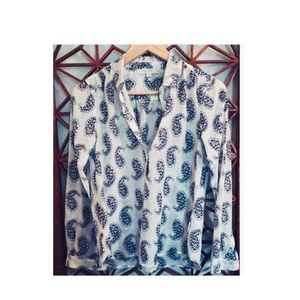 Loft Large Abstract Paisley Open Collar Top